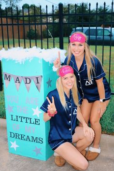 Big Little Reveal Pajama Theme Delta Gamma Big Little Reveal with pop out box and pajama theme. Big Little Reveal Pajama Theme Delta Gamma Big Little Reveal with pop out box and pajama theme. Big Little Shirts, Big Little Paddles, Big Little Canvas, Big Little Week, Big Little Reveal, Sorority Family Shirts, Sorority Bid Day, Sorority Canvas, Sorority Paddles