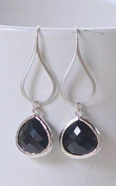 Black Jewel Drop Earrings in Silver. Black Teardrop