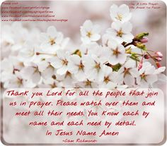 Thank you Lord for all the people that join us in prayer. Watch over them and meet all their needs. Little Prayer, Thank You Lord, Prayers, Join, Meet, Sayings, Watch, People, Lyrics