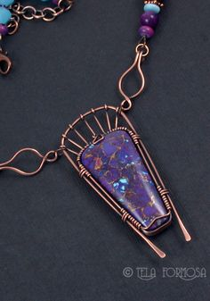 Mohave turquoise necklace wire wrapped by Tela Formosa.