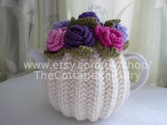 TEA COSY - MEDIUM - Hand Knitted Wool - Rose Flower - Aran Cream with Pnk & Lilac flowers - 2 - 4 cup 1 litre medium teapot