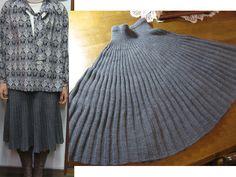 Knitting Patterns Skirt Knit Skirt, Japanese pattern, but so purty Crochet Skirts, Knit Skirt, Knit Or Crochet, Knit Dress, Pleated Skirt, Knitting Short Rows, Knitting Yarn, Hand Knitting, Crochet Shawls And Wraps