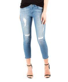 Look at this #zulilyfind! Blue Denim Zipped In Crop Jeans #zulilyfinds
