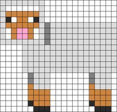 Minecraft Grey Sheep Perler Bead Pattern