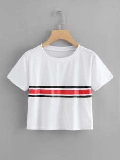 Round Neck Striped Crop TeeFor Women-romwe