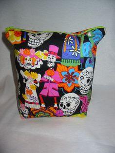 Dia De Los Muertos Project Bag by EatKnitandDye on Etsy