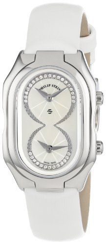 Philip Stein Women's 14-IDW-IW Prestige Diamond Dial White Silk Calf Strap Watch | Your #1 Source for Watches and Accessories