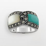 Sterling silver Marcasite & Simulated Turquoise Ring.