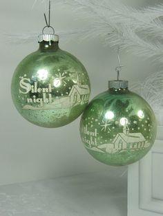 Vintage MERCURY GLASS ORNAMENTS Pale Green w/ Stencils Set/2 by LavenderGardenCottag