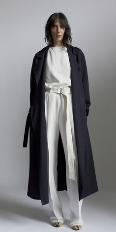 NAVY TRENCH WOOL GABARDINE COAT, OFF WHITE PRESSED SABLE TOP & OFF WHITE TECHNICAL CREPE TROUSERS,  CELINE SPRING 2014