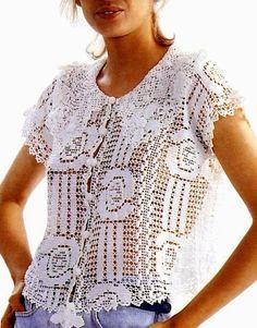crochet filet lace blouse free pattern