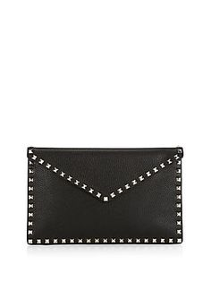 Valentino Garavani Large Rockstud Leather Envelope Pouch Black Clutch, Valentino Garavani, Envelope, Pouch, Purses, My Style, Leather, Bags, Fashion
