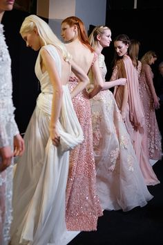 Sasha Luss, Antonia Wesseloh, Maud Welzen and Josephine Le Tutour Backstage at Elie Saab Haute Couture Spring 2014