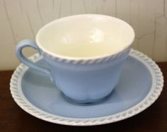 "Vintage Harkerware ""Chesterton"" Baby Blue Cup & Saucer Set (E3937)"