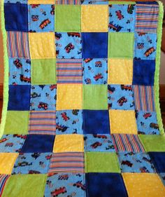 Train quilt with minky back by SewCuddlyQuilts on Etsy