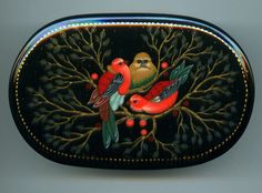 """Russian Lacquer Box Style Palekh """"Three Birds"""" Hand Painted 