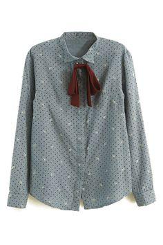 ROMWE   Dot Print Bowknot Shirt, The Latest Street Fashion