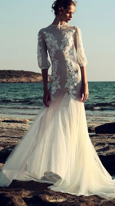 Swiss dot lace gown