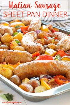 This Italian Sausage Sheet Pan Dinner is the ultimate easy meal recipe for a quick weeknight dinner in 30-minutes or less with hardly any clean-up!