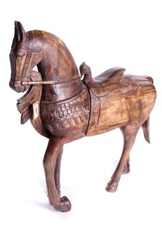 Amazing 3 foot tall hand carved wooden horse.
