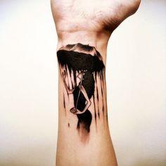 What does umbrella tattoo mean? We have umbrella tattoo ideas, designs, symbolism and we explain the meaning behind the tattoo. Umbrella Tattoo, Rain Tattoo, Forearm Tattoos, Body Art Tattoos, Small Tattoos, Tattoo Ink, Dance Tattoos, Tatoos, Scar Tattoo