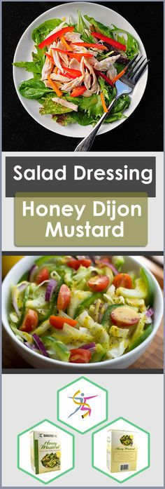 What do you think of when you think of Dijon honey mustard dressing? Maybe you imagine of sweet honey mixed with tangy Dijon mustard in a creamy dressing. We agree. Maybe you cringe at the calorie, su Healthy Meals To Cook, Healthy Salad Recipes, Healthy Cooking, Healthy Snacks, Cooking For Two, Cooking Tips, Cooking Recipes, Easy Cooking, Cooking Light