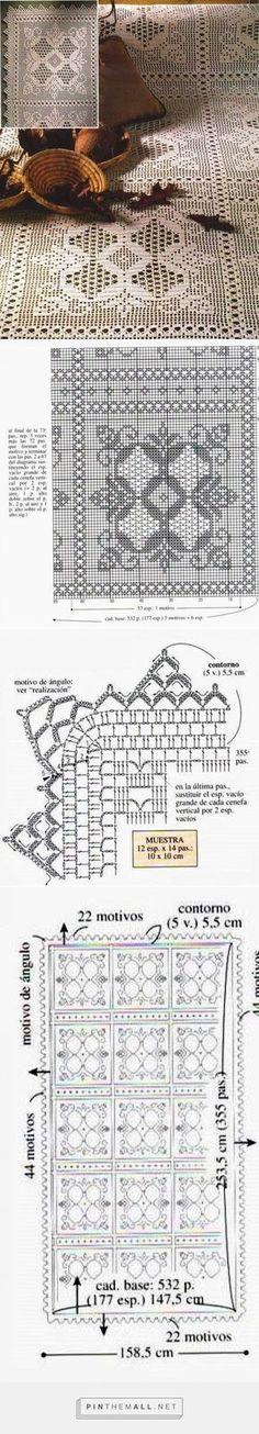 Kira scheme crochet: Scheme crochet no. Crochet Bedspread, Crochet Curtains, Crochet Quilt, Crochet Cross, Tapestry Crochet, Crochet Squares, Thread Crochet, Crochet Stitches, Crochet Doily Patterns