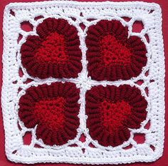 "Donna Kay Lacey's Valentine Hearts 10"" block pattern celebrates the bullion stitch"