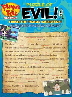 Finish Doof's Tragic Back Story with this MadLib puzzle free Printable
