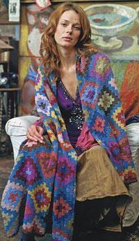 Stepped Flower Stole by Kaffe Fassett Crochet Stitches, Knit Crochet, Crochet Patterns, Crochet Ideas, Knitting Patterns, Knitted Afghans, Knitted Blankets, Baby Blankets, Textiles
