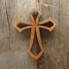 scroll saw crosses | Oak Cross Hand cut on a Scroll Saw by sugargliderwoodworks on Etsy