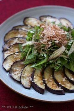 ナスと水菜、茗荷とシソのごまポン酢|レシピブログ Ovo Vegetarian, Vegetarian Recipes, Cooking Recipes, Big Salad, Healthy Dishes, Japanese Food, Bon Appetit, Salad Recipes, Side Dishes