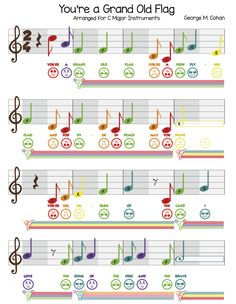 "You're A Grand Old Flag and the Power of Symbols (Free Sheet Music for Boomwhackers & Bells) In preparation for Memorial Day we're happy to release the sheet music for ""You're A Grand Old Flag!"" This is a classic tune (and catchy too!) that honors one of America's greatest symbols, ol' Red White and Blue."