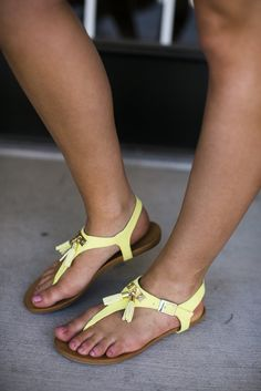Yellow Ankle Strap Sandal with Tassel | Lane 201 Boutique