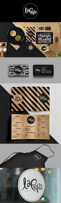 Natural and rustic themed branding for La Pepa Tapas Restaurant Branding by Chio Romero found on Behance.