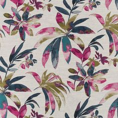 A heavyweight woven abstract upholstery fabric in a tossed design of dark teal, fuchsia, navy blue and olive green on an ivory ribbed background.