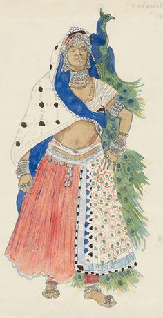 Costume design by Léon Bakst (1866-1924), 1911,  Le Dieu Bleu,  Baydere, watercolor and pencil.