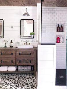 DIY bathroom renovation, shiplap, subway tile, cement tile, planked ceiling, DIY vanity (plans available via link in Instagram bio)