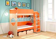 """Кровать двухъярусная Легенда 7  Детская мебель """"Легенда"""" - это уже готовая комната для Вашего ребенка, которая совмещает в себе спальное место, полноценное рабочее пространство и вместительное место для одежды и мелочей.  Большое количество оттенков помогут подобрать мебель по вкусу ребенку и интерьеру комнаты, а большое разнообразие комплектаций и размеров поможет вписать детскую комнату даже в любую малогабаритную квартиру.    Детская мебель """"Легенда"""" - это уже готовая комната для Вашего…"""