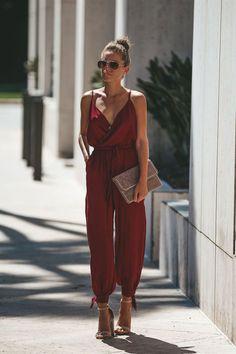 1431ae51a116 Backless tether deep V-neck sling jumpsuit-Red