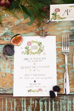 Botanical wedding menu | Photography: Anushé Low - anushe.com Read More: http://www.stylemepretty.com/destination-weddings/2014/04/23/botanical-wedding-inspiration/