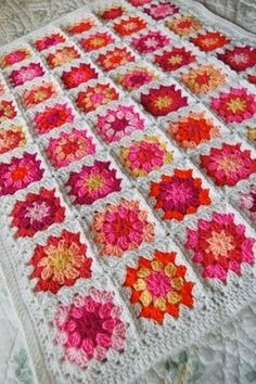 shades of red granny squares