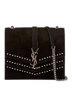 3327770b7f Saint Laurent Sulpice Monogram Triple-Flap Suede Crossbody Bag - Silver  Hardware Ysl