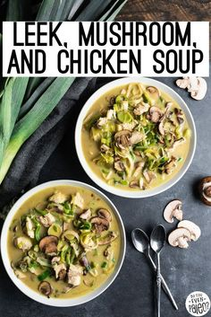 Nourishing and simple Leek, Mushroom, and Chicken soup is bursting with veggies and full flavor! It's a perfect Whole30 or keto lunch idea. Works well for meal prep. Low carb and paleo, too! Allergy Free Recipes, Paleo Recipes, Real Food Recipes, Soup Recipes, Turmeric Recipes, Paleo Soup, Stuffed Mushrooms, Stuffed Peppers, Homemade Soup