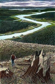Journey & Destination by Douglas Smith  - Peaks Island, ME, USA on Behance   Drawing   Illustration   Draw   Desenho   Design   Ilustração   Diseño   Landscape  