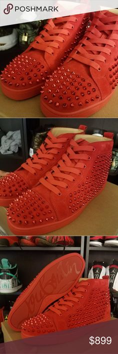 Mens Christian Louboutin Poppy Red Suede Spikes Mens Christian Louboutin Poppy Red Suede Spikes  Size US 11 or EU 44 Christian Louboutin Shoes