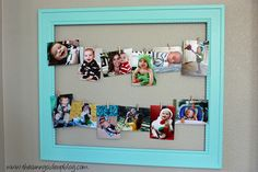 Cute way to display a bunch of photos/cards/etc.: an empty frame + wire mounted to the inside of the frame + mini clothespins.