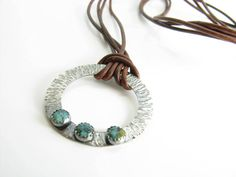 Sterling Silver Turquoise Pendant Leather Necklace by BooBeads