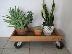 Vintage wood cart wheels industrial storage wood box