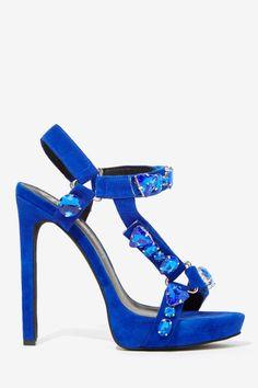 Jeweled Blue Suede Heel